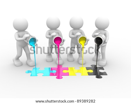 3d people - human character and colorful puzzle(jigsaw). 3d render illustration - stock photo