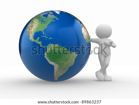 3d people - human character and earth globe. 3d render illustration