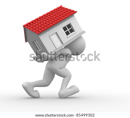 3d people -human character carrying a home. 3d render illustration - stock photo