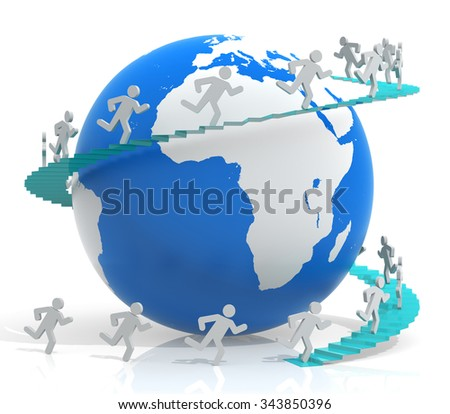 3d people - human character climbs stairs to the earth globe. 3d render illustration