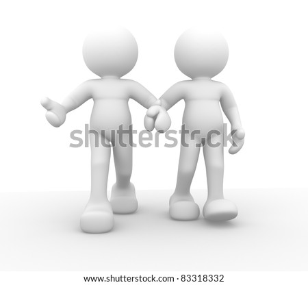 3d people - human character, couple walking hand. 3d render illustration
