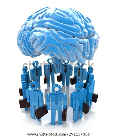 3d people- human character end blue brain. Forum Mind  - stock photo