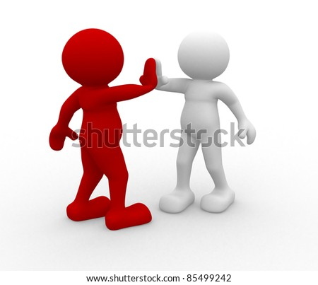 3d people- human character - give me five. 3d render illustration - stock photo