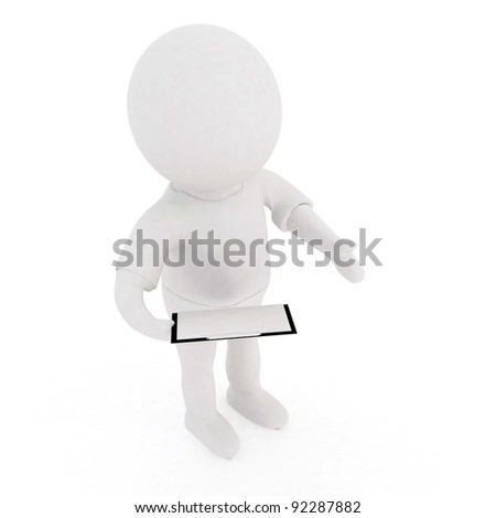 3d people-human character holding a clip board