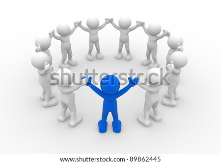 3d people - human character, leadership and people in circle. 3d render illustration - stock photo