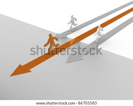 3d people - human character on arrows. 3d illustration