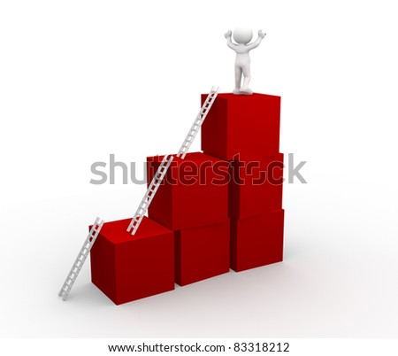 3d people - human character on cubes. 3d render illustration - stock photo