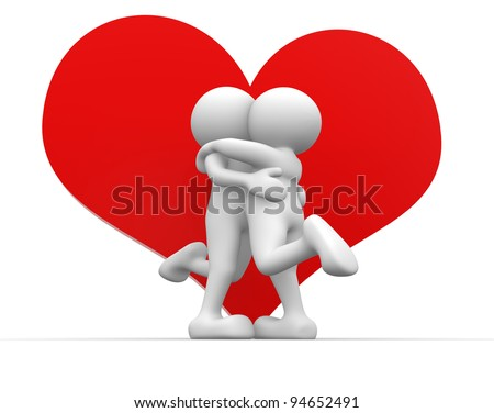 3d people - human character, person  and a big heart.  Valentine's day, kiss. 3d render - stock photo