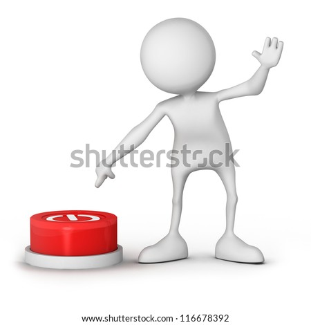 "3d people - human character, person and a button with ""Power"" .3d render - stock photo"