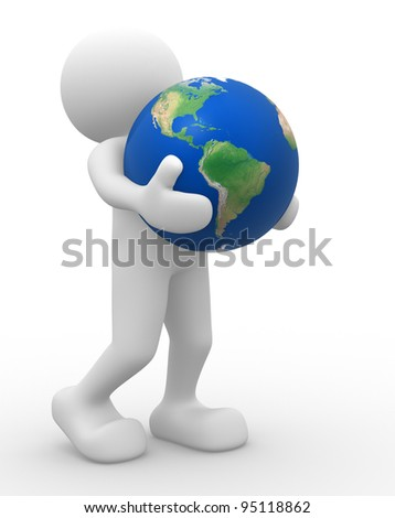 3d people - human character, person and a earth globe. 3d render - stock photo