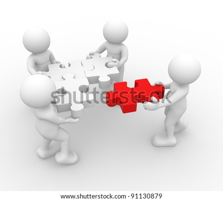 3d people - human character - person  and a  jigsaw ( puzzle ) . 3d render illustration - stock photo