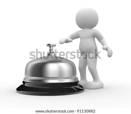 3d people - human character -  person and a silver bell. 3d render  . 3d render illustration - stock photo