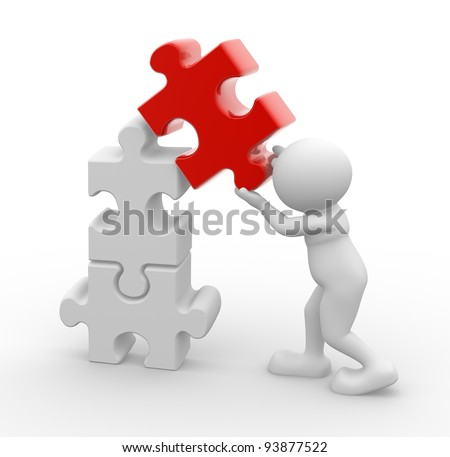 3d people - human character, person and puzzle pieces ( jigsaw ). 3d render - stock photo