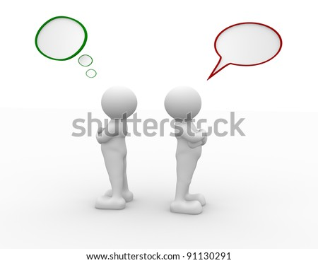 3d people - human character - person  argue, conflict.  3d render illustration