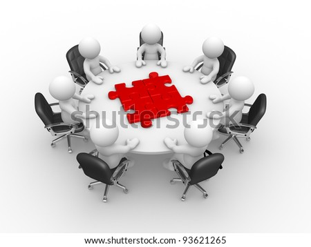 3d people - human character , person at  a round table and puzzle pieces ( jigsaw) . 3d render illustration