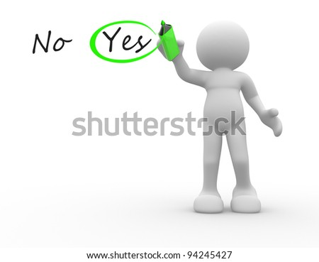 3d people - human character, person choosing between yes and no. Checkmark  a pencil. 3d render illustration - stock photo