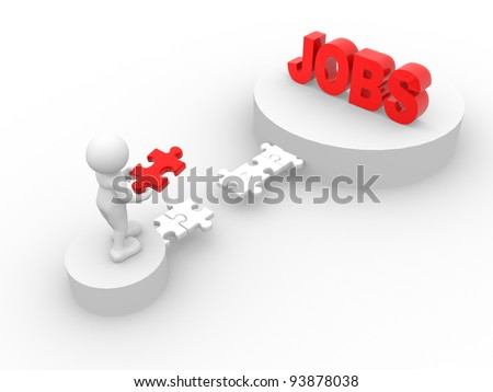 "3d people - human character - person. Last jigsaw ( puzzle ) and word ""jobs"". 3d render illustration"