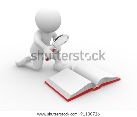 3d people - human character , person  looking  with a magnifying glass in an open book .  3d render illustration - stock photo
