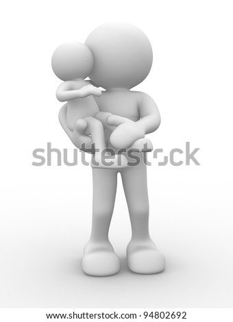 3d people - human character, person. Mom with child. 3d render - stock photo
