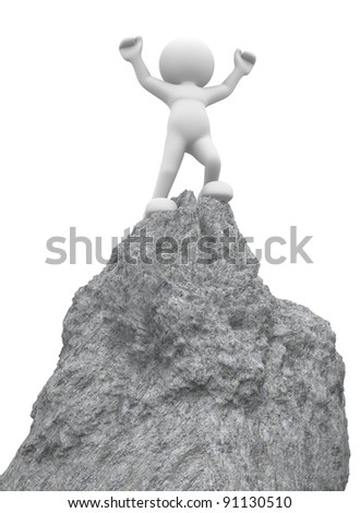 3d people - human character ,  person on  top of the mountain - victorious .  3d render illustration - stock photo
