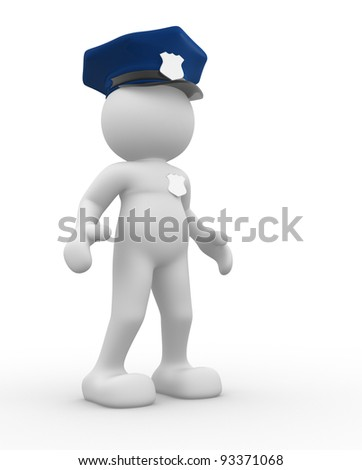 3d people - human character , person -  policeman.   3d render - stock photo