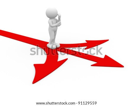 3d people - human character - person  standing on red arrows. . 3d render illustration - stock photo