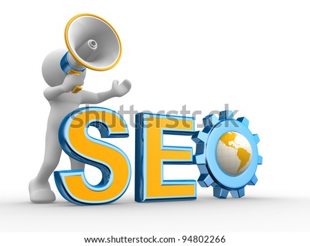 """3d people - human character , person with a megaphone and word """"Seo"""".  Gear mechanism and earth globe. 3d render - stock photo"""