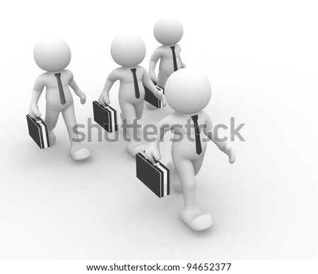 3d people - human character, person with briefcase and tie. Concept of a businessman, partners. 3d render