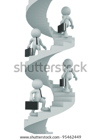 3d people - human character, person with briefcase - climb the spiral staircase - stair. Businessman. 3d render illustration - stock photo