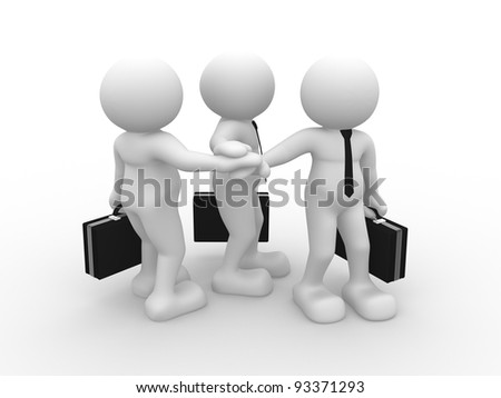 3d people - human character , person with briefcase. Partnership and friends . 3d render - stock photo