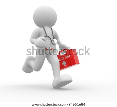 3d people - human character, person with first-aid and stethoscope. Doctor. 3d render - stock photo