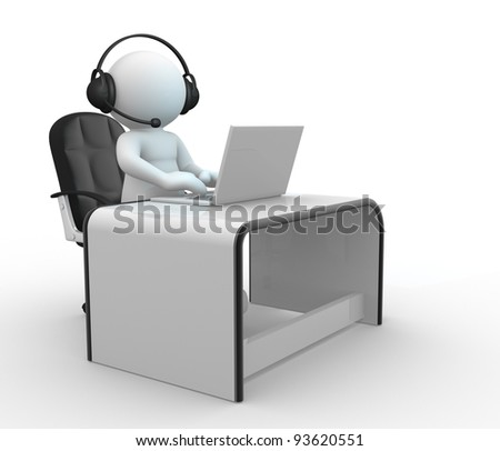 3d  people - human character , person with headphone sitting at the table and working on a laptop computer. 3d render - stock photo