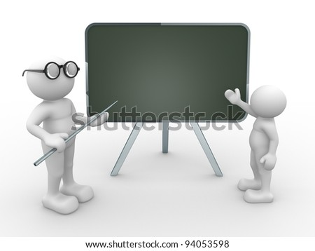 3d people - human character,  person with pointer in hand close to blackboard. Teacher and student.  3d render illustration