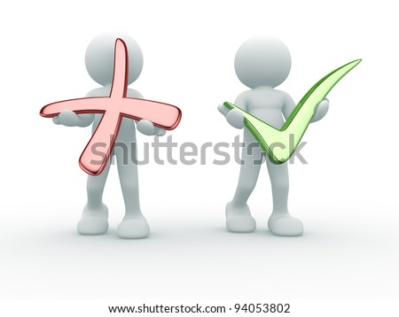 3d people - human character, person with positive and negative symbol.  3d render illustration - stock photo