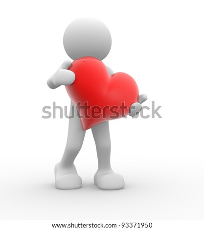 3d people - human character, person  with  red a heart. 3d render - stock photo