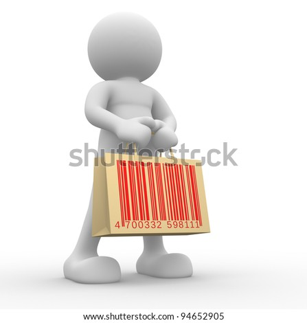 3d  people - human character, person with shopping bag and barcode ( bar code ). 3d redner