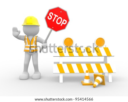 "3d people - human character, person with ""stop"" sign.  Construction worker. 3d render illustration"