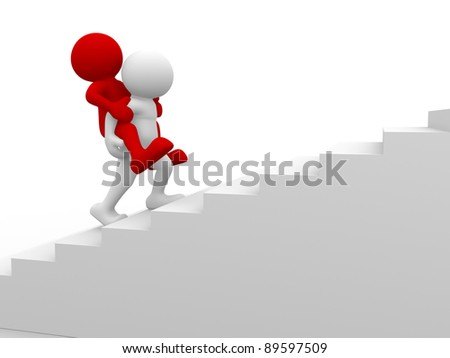 3d people - human character , piggyback on a stairs. This is a 3d render illustration - stock photo