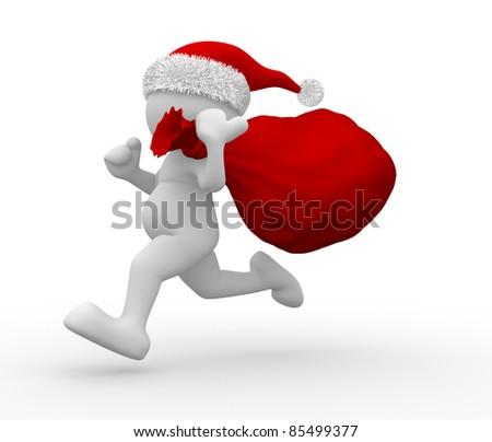 3d people - human character Santa Claus  with bag full of gifts. 3d render illustration - stock photo