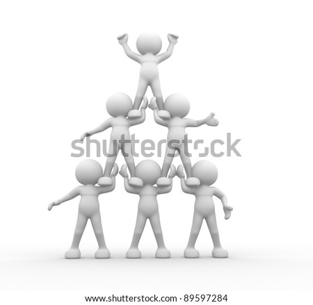 3d people - human character sit in the pyramid. 3d render illustration - stock photo