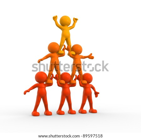 3d people- human character sit in the pyramid. 3d render illustration - stock photo