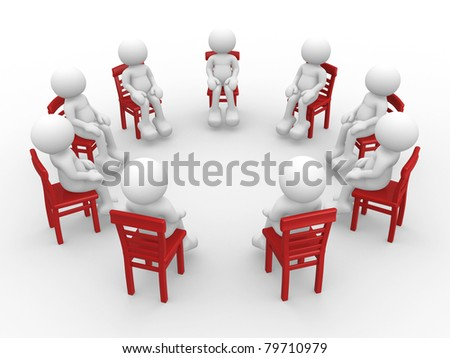 3d people - human character- stand in a circle on chairs and talking. 3d render - stock photo