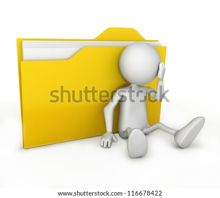 3d people - human character supported by a folder. 3d render illustration - stock photo