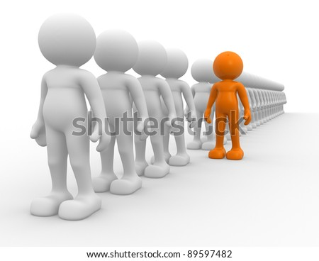 3d people - human character -  team  and leadership. This is a 3d render illustration - stock photo