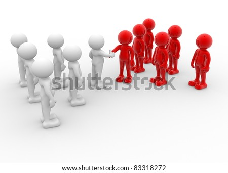 3d people - human character - two team shaking hands. 3d render illustration - stock photo