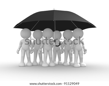 3d people - human character under an umbrella. 3d render illustration - stock photo