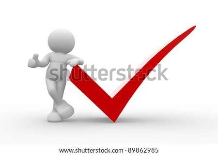 3d  people - human character with a positive symbol. 3d render illustration - stock photo