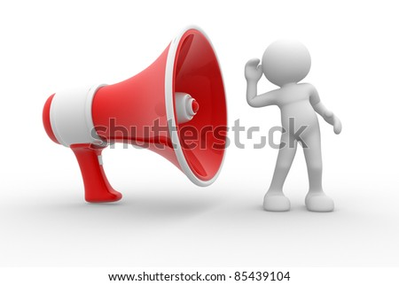3d people- human character with a red megaphone. 3d render illustration - stock photo