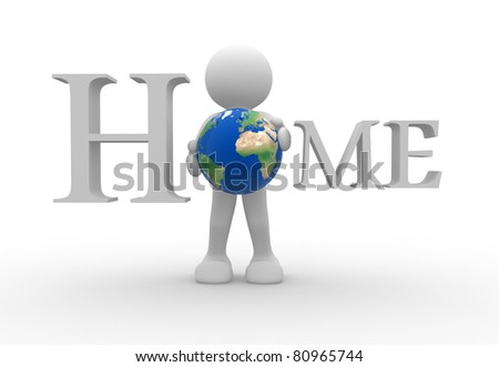 3d people- human character with Earth glob  - 3d render illustration - stock photo