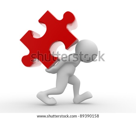 3d people - human character with puzzle- jigsaw. 3d render illustration - stock photo